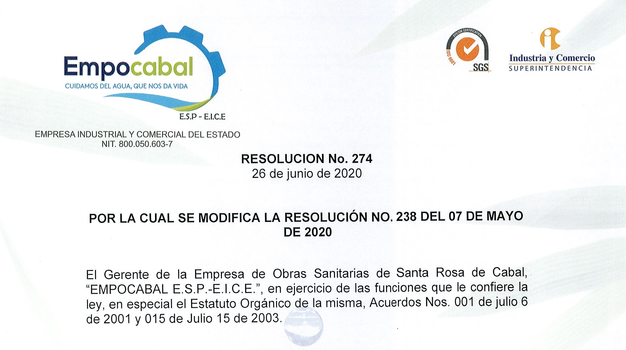 resolucion 274 26 junio 2020